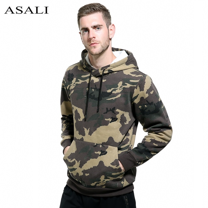 ASALI Militaire Épais Polaire Hoodies Hommes Camouflage 2017 Hip Hop Camo Sweatshirts Homme Moletom Masculino Sport USA TAILLE
