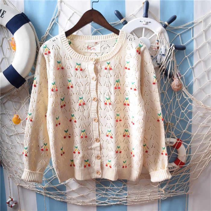 Japanse Mori Meisje Cherry 3D Borduren Bloemen Hollow Out Dunne Breien Vest Trui Vrouwen Tops Korte Vest Jasje