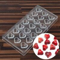 Temizle Loving Kalp Şekilli Şekil PC Gıda Şeker Polikarbonat Çikolata Kalıp Kalıp Tepsi Puding Plastik DIY Araçları