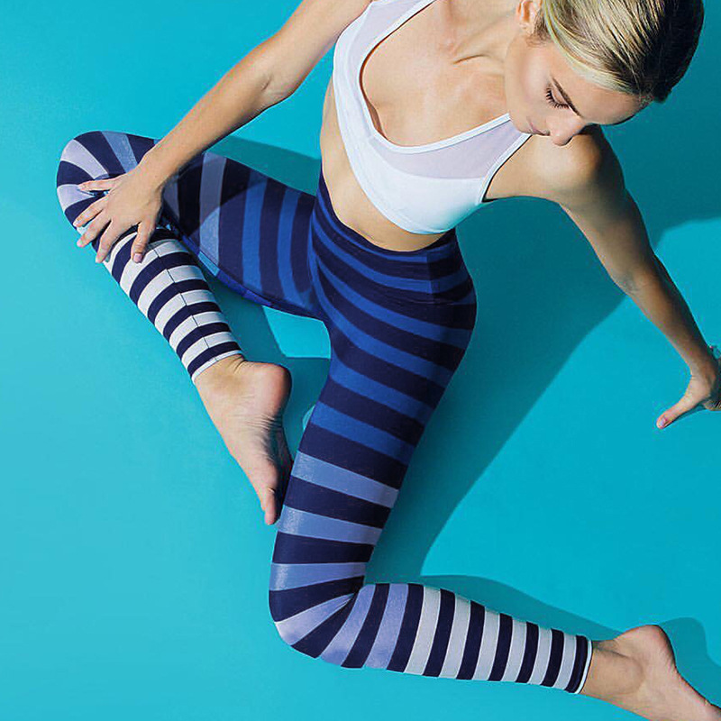 OVESPORT Striped Women   Leggings   2018 High Waisted   Leggings   For Fitness Workout Quick Dry Pants Sexy Women's Sporting Leggins