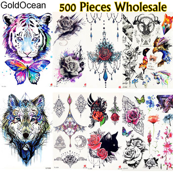 500 Pieces Wholesale Flash Temporary Tattoos Fake Jewelry Pendent Flower Tatoo For Men Women Body Art Fake Tiger Tattoo Stickers