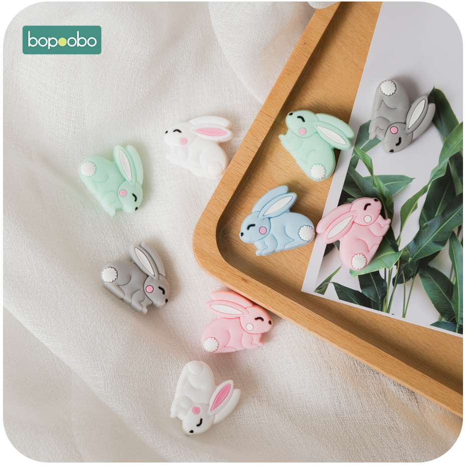 Bopoobo 3PC Mini Silicone Animal Beads Baby Teether Silicone Rabbit Teether Bead Tiny Rod For Children Silicone Teether Necklace