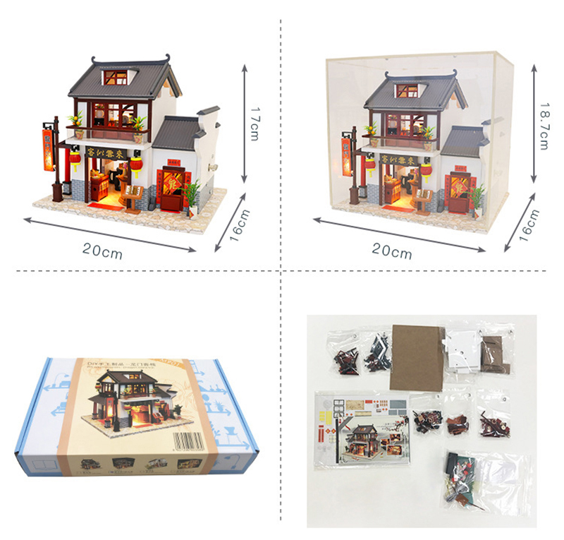 Doll House Chinese Style Hotel Miniature Dollhouse Assemble Kit Toys Wooden Retro Shop Furniture House Toys for Children New Year Christmas Gift (3)
