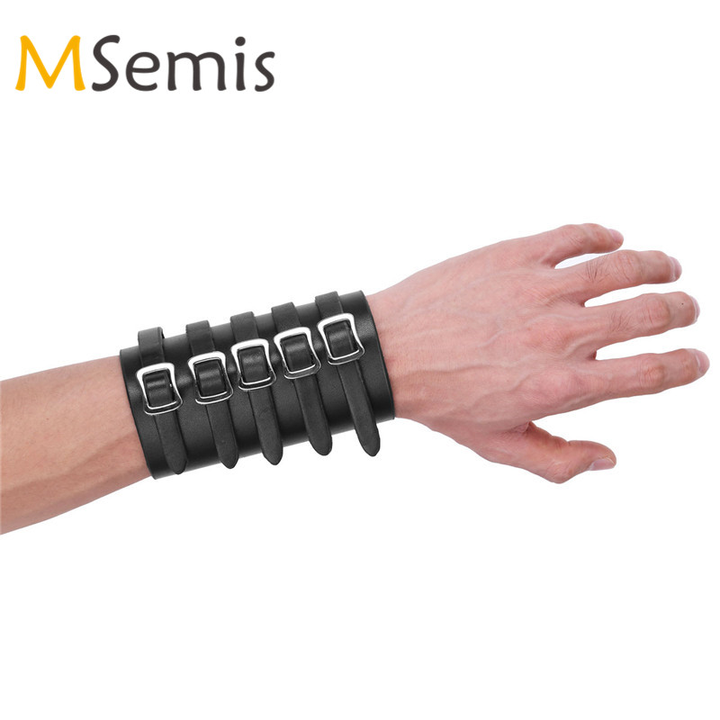 1Pc Unisex Punk Faux Leather Bracers Adjustable Five Buckles Gauntlet Wristband Wide Medieval Bracers Protective Arm Armor Cuff