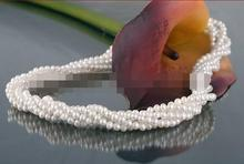 lovely natural 5 row 6-7mm white pearl necklace 18″ jewelry
