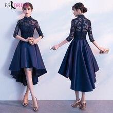 Evening Dresses Royal Blue Lace Flowers Long Gown for Women Elegant Chiffon 2019 Formal Dress Wedding ES1271