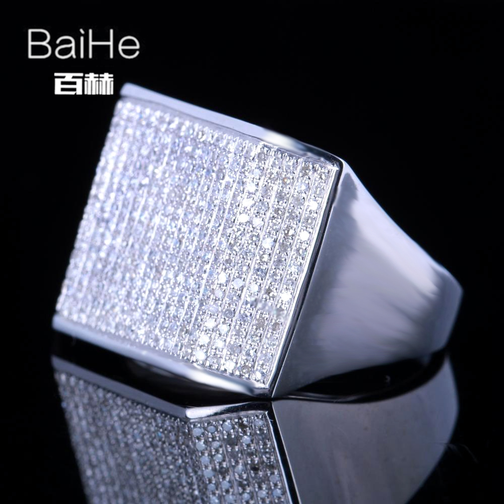 BAIHE Solid 14K White Gold(AU585) 1.2CT Certified H/SI Round Cut Genuine Natural Diamonds Wedding Men Trendy Fine Jewelry Ring