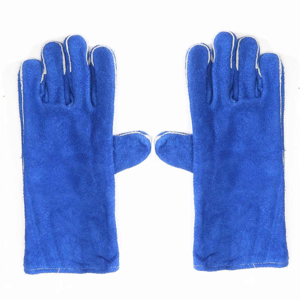 Blue Woodburner Gloves Long Lined Welders Gauntlets Log Fire High Temp Stove  XL Workplace Safety Gloves - Compare Prices On Stove Gloves- Online Shopping/Buy Low Price