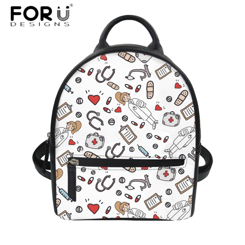 FORUDESIGNS PU Leather Mini Backpacks Cute Cartoon Nurse Printed Casual Travel Mini Daypack for Women Durable Shoulder Back Pack