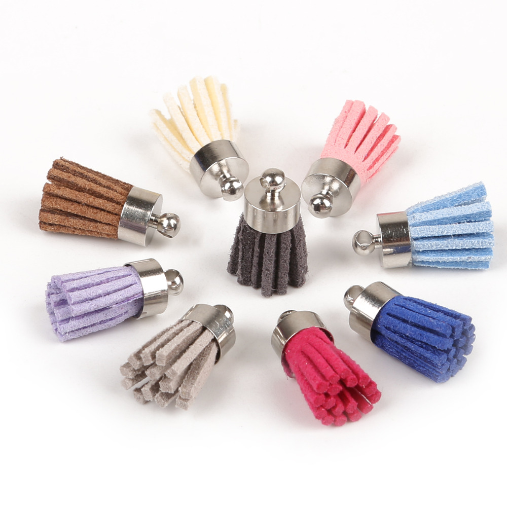 12pcs Suede Leather Tassel Charms Pendants For Keychain Jewelry Making 40mm