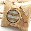 Роскошные BOBO BIRD Марка Бамбук Часы Женщины Кварцевые Наручные Часы часы Бамбука Леди relojes mujer C-A28