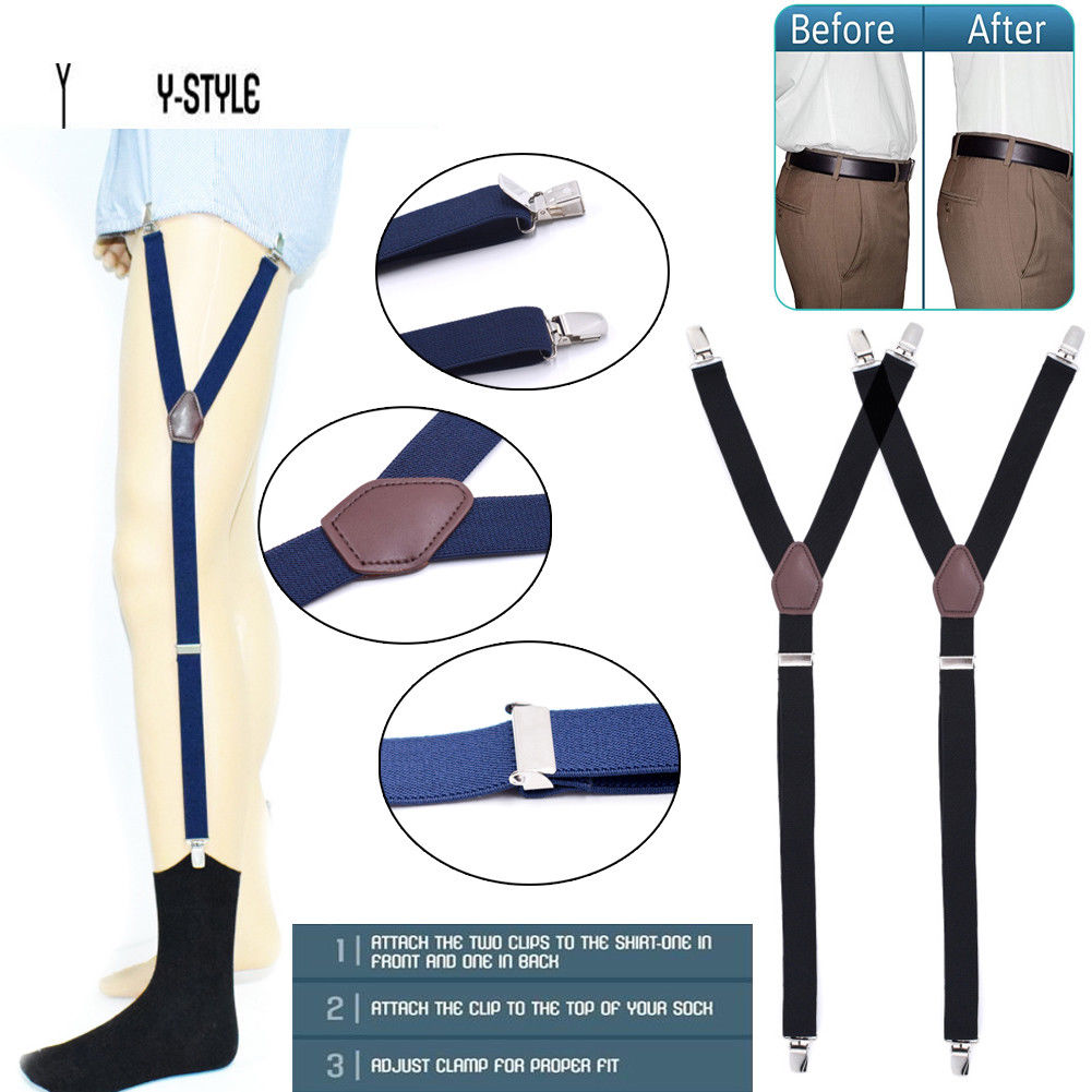 Newest Mens Shirt Stays Holder Military Straight Stirrup Suspenders Elastic Uniform Business Y Style Suspender Shirt Garters