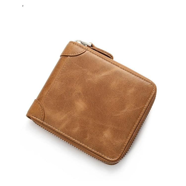 2018 Genuine Leather Wallet Men Coin Purse Male Mini Small Walet Portomonee Rfid Mini PORTFOLIO Vallet Perse Card Holder