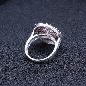Image 4 - Gems BALLET 3.88Ct 라운드 천연 붉은 가닛 보석 반지 여성을위한 925 스털링 실버 빈티지 칵테일 반지 파인 쥬얼리