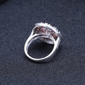 Image 4 - Gems Ballet 3.88Ct Ronde Natuurlijke Rode Granaat Edelsteen Ring 925 Sterling Zilveren Vintage Cocktail Ringen Voor Vrouwen Fijne Sieraden