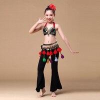 ATS Wydajność 3 sztuk Zestaw Kostiumów Dziewczyny Tribal Dance Monety Biustonosz, pas i Spodnie Gypsy Kostium Dzieci Taniec Brzucha