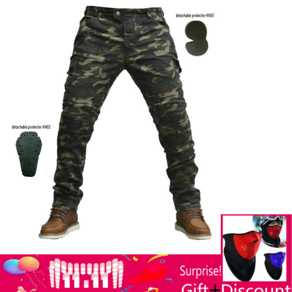2018NEW Motorcycle Pants Motorcycle Camouflage Jeans Motocross Trousers Racing Moto Pants Motorbike Jeans with Protector shorts rock biker shop genuine 2017 new slim camouflage riding jeans motorcycle jeans multifunction denim shorts pants unisex