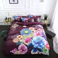 Retro Colorful Flowers Printed Bedding Set Rose for Kids Adults Duvet Cover Set Pink and Blue Floral Home Textiles