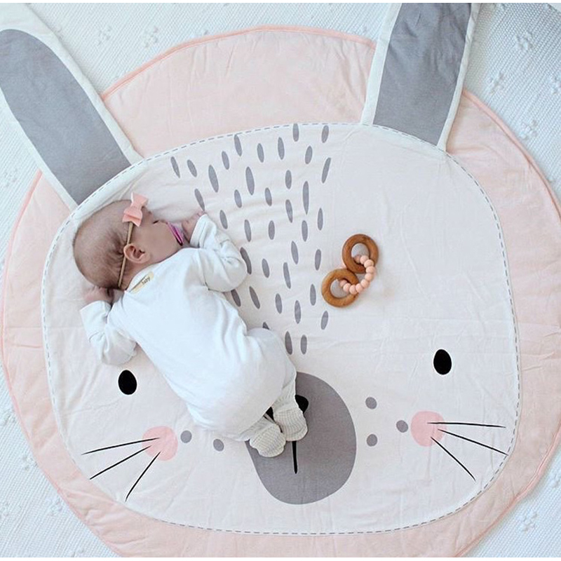 Kids Play Game Mats Cotton Rabbit Crawling Blanket Round Carpet Rug Mat Baby Bedding Stroller Blanket Children's Room Decoratio