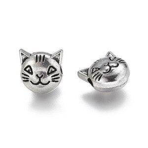 20 pçs/lote tibetano prata contas de cabeça de gato para fazer jóias buraco grande metal grânulo diy descobertas artesanal artesanato acessórios fornecedor