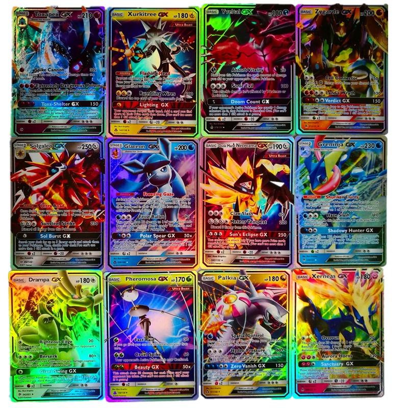 MEGA cartes brillantes jeu Carte de bataille cartes à collectionner jeu enfants Pokemons jouet 200 pièces GX 25 50 100 pièces