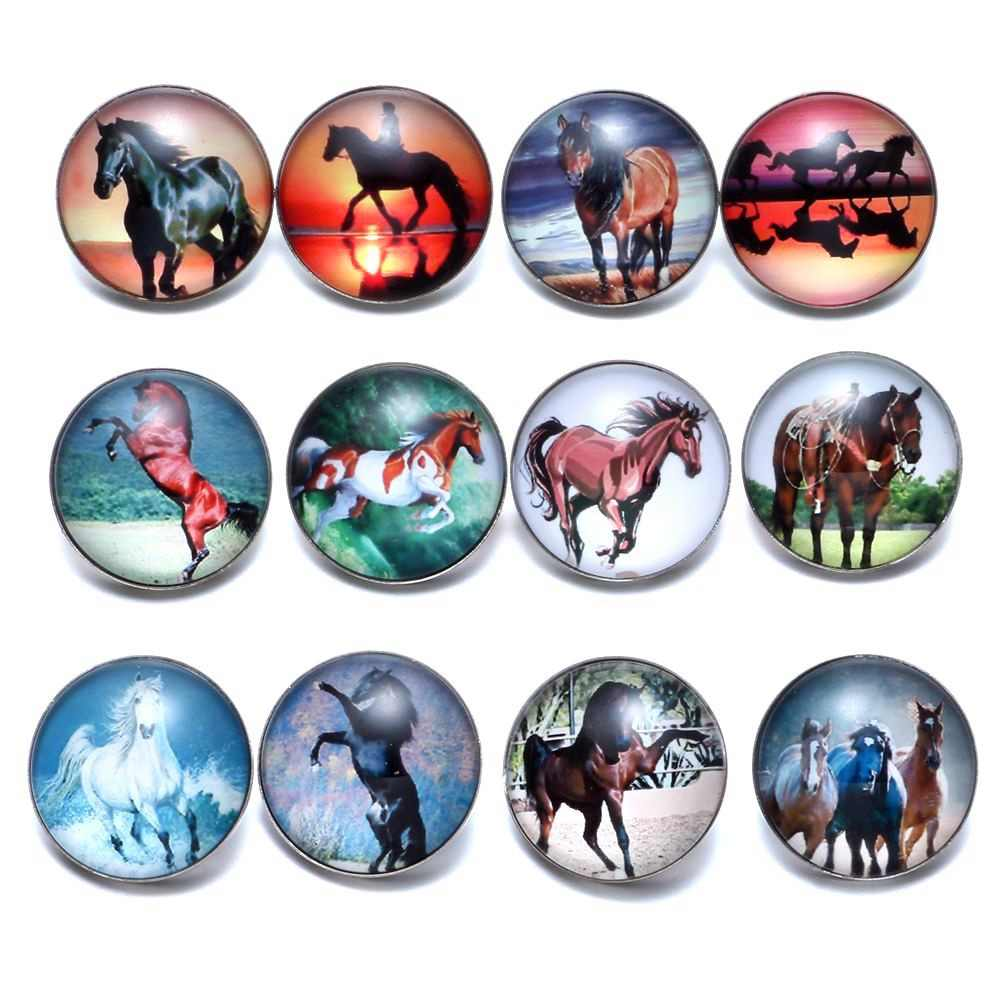 12pcs/lot Horse Theme Glass Charms 18mm Snap Button Jewelry For 18mm Snaps Bracelet Snap Jewelry KZ0677