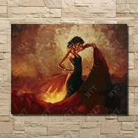 スペインダンサーダンス油絵セクシーなドレッシング女の子ダンス画像いいえフレーム壁写真用寝室