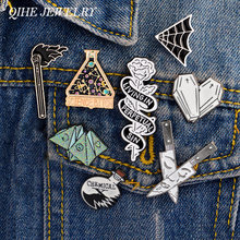 QIHE JEWELRY Punk Pins Collection Origami Coffin Chemical Cobweb Dagger Enamel pins Lapel pin Badges Brooches for men women(China)
