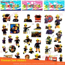 hot deal buy 6pcs/lot 3d animated series fireman sam wall stickers children safety education animation 3d mini stickers for kids toy stickers