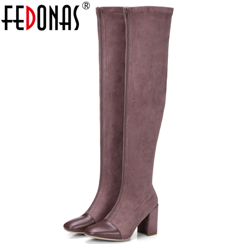 FEDONAS Fashion Brand Women Over The Knee High Boots High Heels Long Knight Boots Ladies Stretch Party Dancing Shoes Woman fedonas top fashion women winter over knee long boots women sper thin high heels autumn comfort stretch height boots shoes woman
