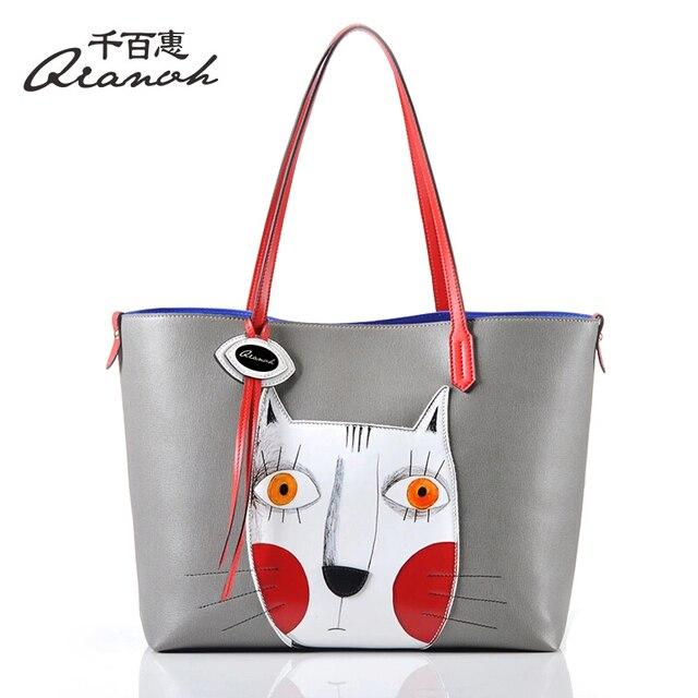 ... detailed look f0a8d 8ef8a Woman Bags Handbag Genuine Leather Bag QIANBH  Brand Cartoon Cat Totes Womens ... 262b9df6333e9