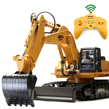 RC Excavator 11CH 2.4G Remote Control Constructing Truck Crawler Digger Model Electronic Engineering Truck Toy