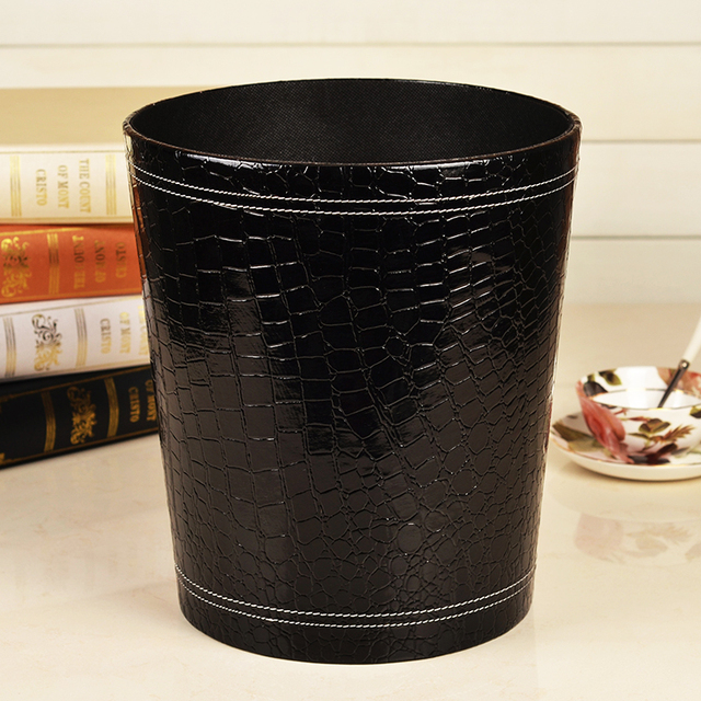 Creative Black Crocodile Grain Leather Trash Can Waste Bins Bedroom Garbage  Container Wooden Fabric Wastebasket Dustbin