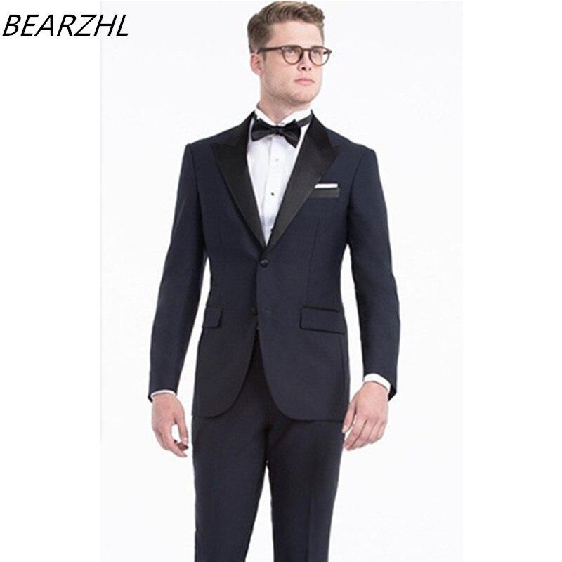 svatební obleky tmavě modré smokingy slim fit ženich nosit 2019 oblek na zakázku
