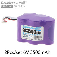 2pc Doublepow 6V 3500mAh Rechargeable Ni MH Battery For CEN530 CEN630 TBD71 Ecovacs 620 630 650