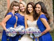 Vestido de festa royal blue short lace bridesmaid dress 2017 new design wedding party dresses vestido de festa curto madrinha