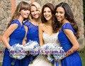 Vestido de fiesta azul real de encaje a corto vestido de dama de honor 2017 nuevo diseño vestidos de boda vestido de festa curto vestido de madrina