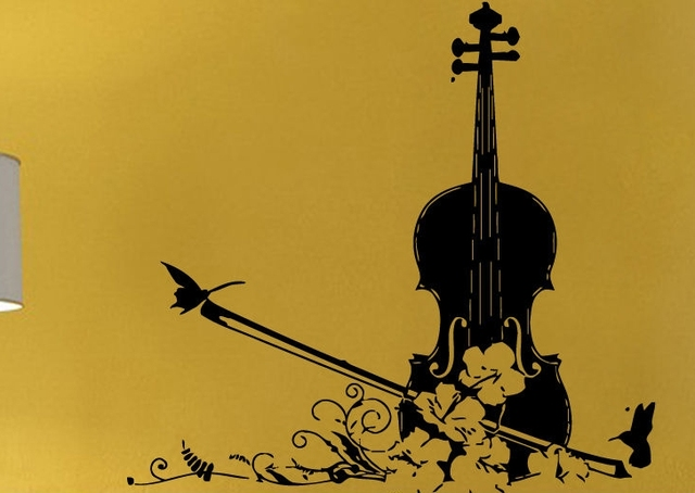 Finest Music Vinyl Wall Decal Music Floral Violin Design Musical Mural  QU87