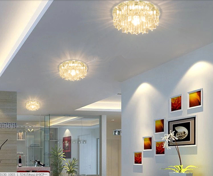 ФОТО 5W crystal lamps led ceiling light corridor lighting lamps for home decoration stainless steel led living room lamp abajur