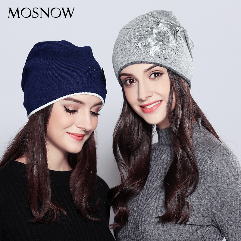 MOSNOW Hats For Girls Wool Female Vogue 2018New Flower Rhinestones Fashion Winter Knitted Women's Hats Skullies Beanies  #MZ719