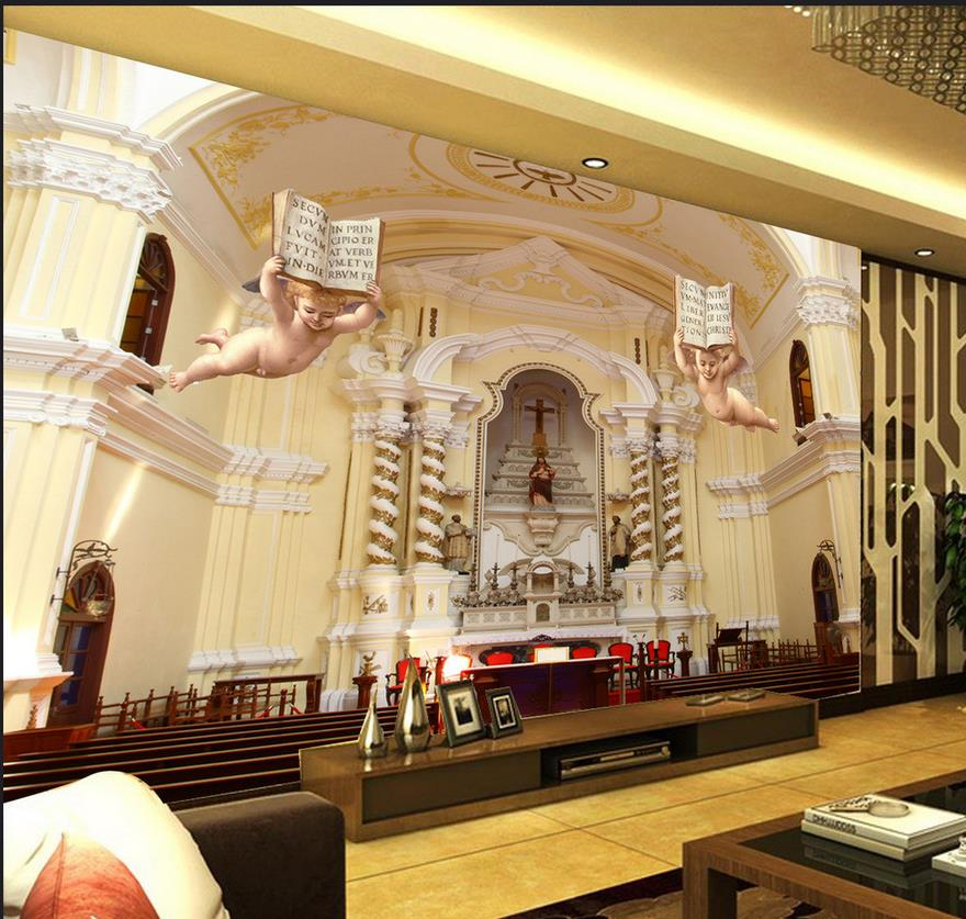 3d wallpaper for room European style 3D angel staircase paradise background wall mural 3d wallpaper paradise residence 3