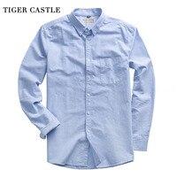 Lente Zomer 100% Katoen Mannen Oxford Shirt Lange Mouw Mannelijke Wit Blauw Sociale Jurk Shirts Hoge Kwaliteit Heren Blouse Shirt