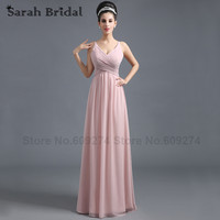 Hot Sales Secy V-Neck Sash Pleats Chiffon Floor-Length Prom Dresses Blush Custom Made Plus Size Bridesmaid Dresses SD293
