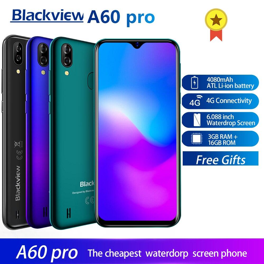 Купить Blackview A60 Pro Смартфон Android 9,0 4G мобильный телефон MTK6761 четырехъядерный 6,088 дюймовый экран капли воды 3 Гб ram 16 Гб rom Touch ID на Алиэкспресс