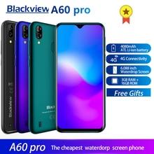 البلاكفيو A60 برو الهاتف الذكي أندرويد 9.0 4G الهاتف المحمول MTK6761 رباعية النواة 6.088 بوصة قطرة الماء شاشة 3GB RAM 16GB ROM اللمس معرف