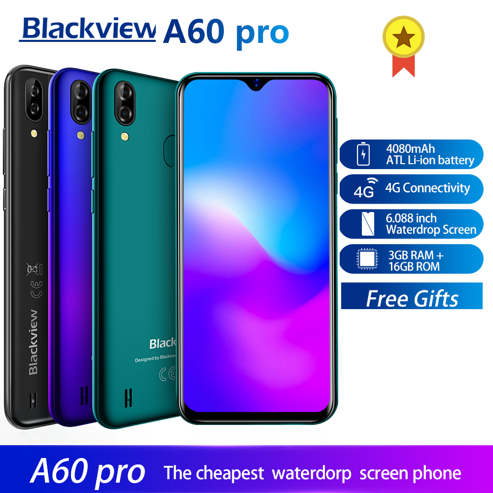 Blackview A60 Pro Smartphone Android 9.0 4G Mobile Phone MTK6761 Quad Core 6.088 inch Waterdrop Screen 3GB RAM 16GB ROM Touch IDBlackview A60 Pro Smartphone Android 9.0 4G Mobile Phone MTK6761 Quad Core 6.088 inch Waterdrop Screen 3GB RAM 16GB ROM Touch ID