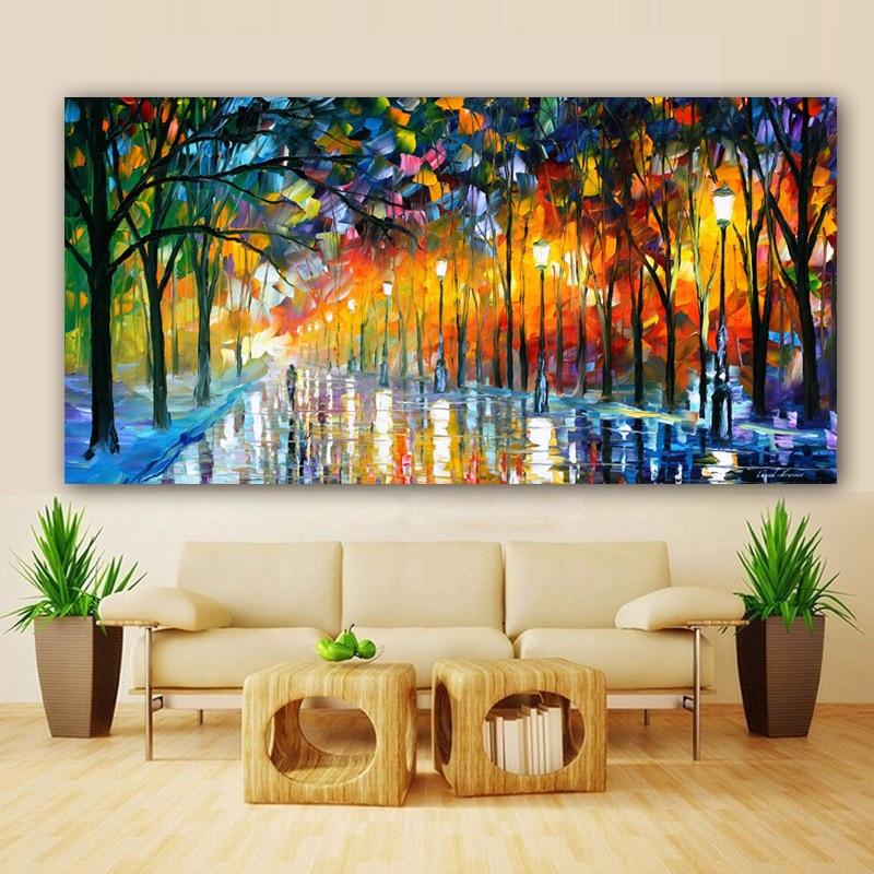 4 41 56 De Réduction Affiche Moderne Toile Peinture Paysage Imprime Pluie Lumière Arbre Peinture à L Huile Mur Art Photos Pour Salon Décor à La