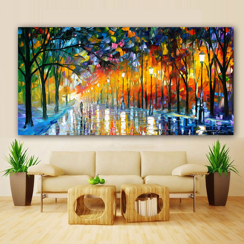 Canvas Painting Landscape Poster Walling In Rain Light Road Oil Painting Wall Art Pictures For Living Room  Home Decor Cuadros