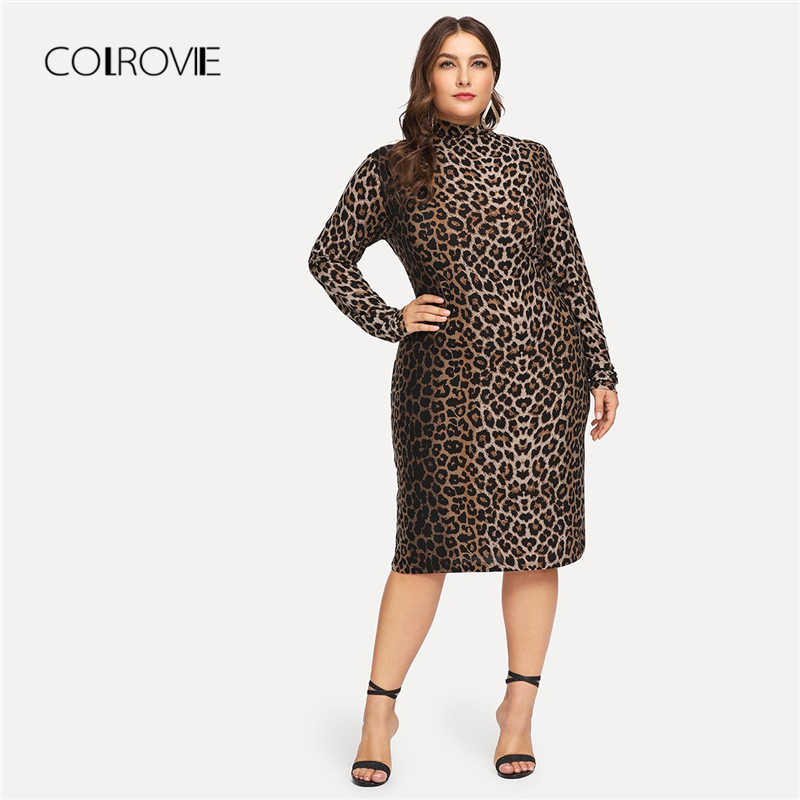 136f67a6efaa2 COLROVIE Plus Size Mock-Neck Leopard Print Casual Dress Women Clothing 2018  Winter Long Sleeve