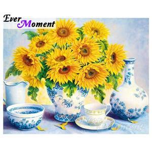 Ever moment 5d diy diamante bordado girassol em vaso diamante mosaico quadrado completo brocas de arte decoração para casa asf1131